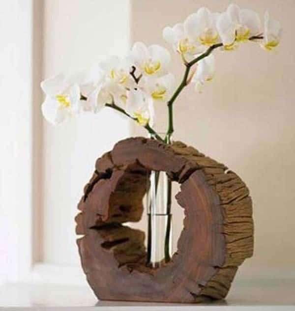 Ahşap Kütük Parçalarıyla Dekoratif El Yapımı Vazo Fikirleri (10)