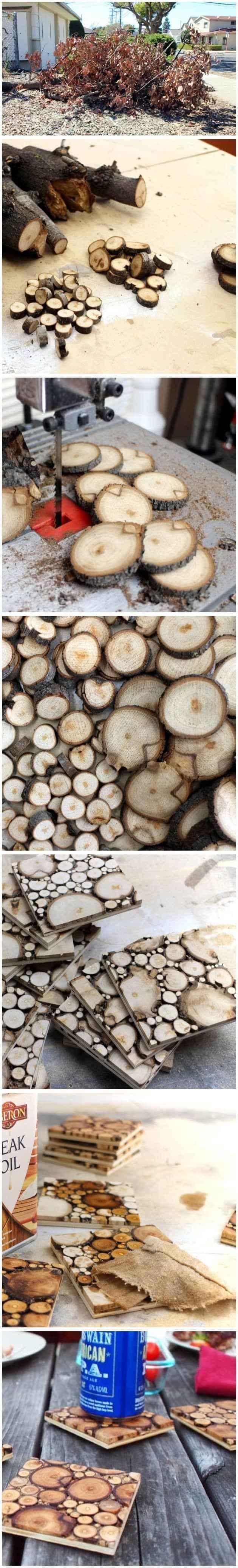 dilimlenmiş ağaç dallarıyla bardak altlığı