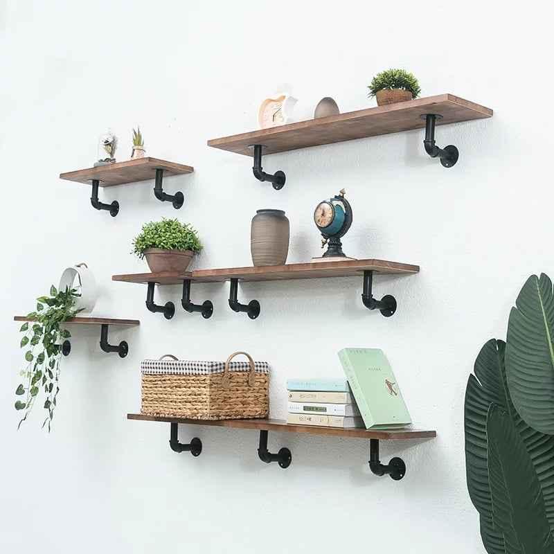 endüstriyel boru raf ayaklı duvar rafı örnekleri