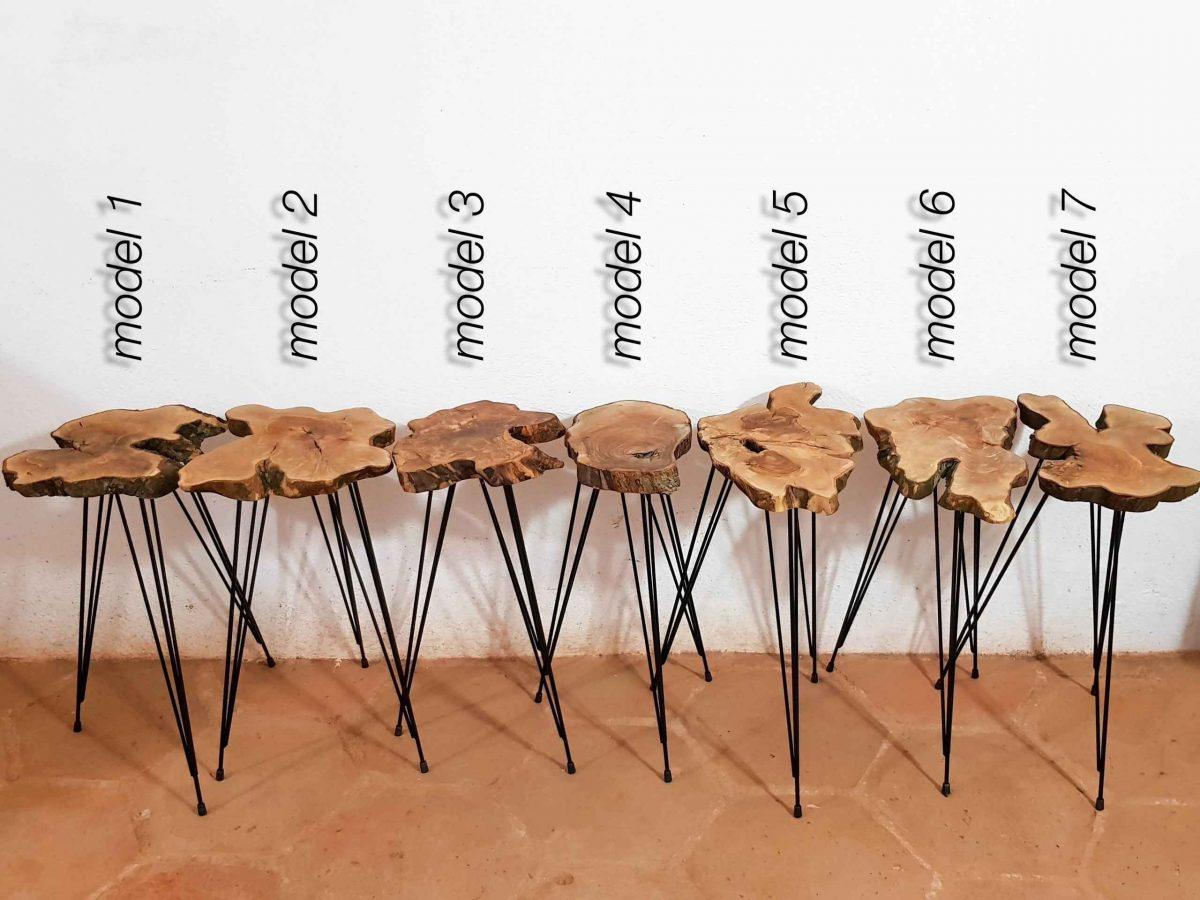 mini firkete ayaklı zeytin ağacı kütük sehpa modelleri