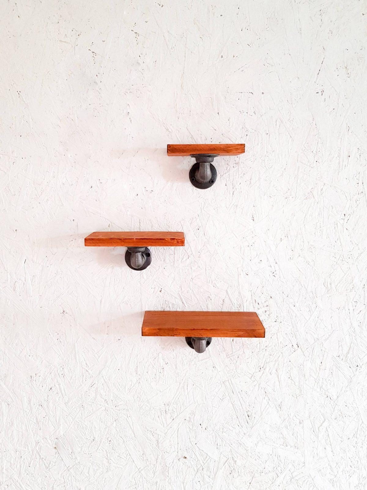 endüstriyel borulu duvar rafı 3lu mini masif çam raf set (3)